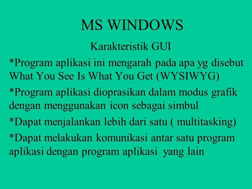 MS WINDOWS MS Windows berbasis GUI karena pemakaianya berbasis grafik