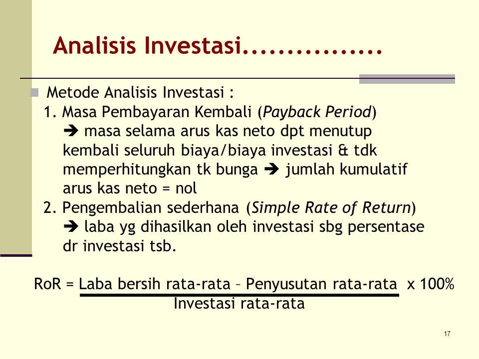 17 Analisis Investasi................ Metode Analisis Investasi : 1. Masa Pembayaran Kembali (Payback Period)  masa selama arus kas neto dpt menutup