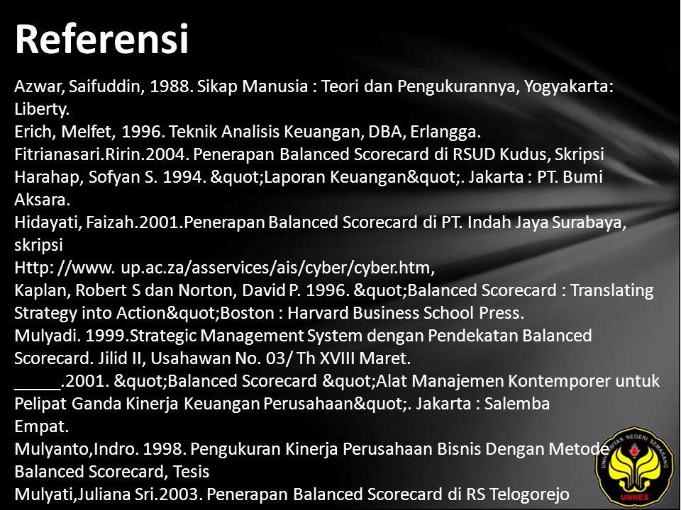Referensi Azwar, Saifuddin, 1988. Sikap Manusia : Teori dan Pengukurannya, Yogyakarta: Liberty.