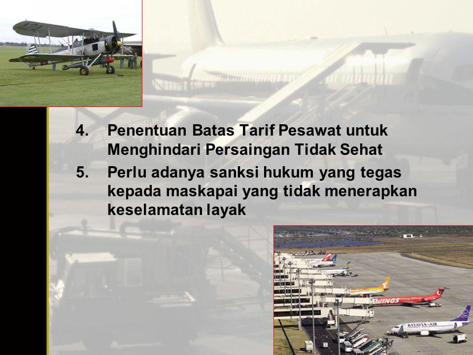 4.Penentuan Batas Tarif Pesawat untuk Menghindari Persaingan Tidak Sehat 5.Perlu adanya sanksi hukum yang tegas kepada maskapai yang tidak menerapkan keselamatan layak