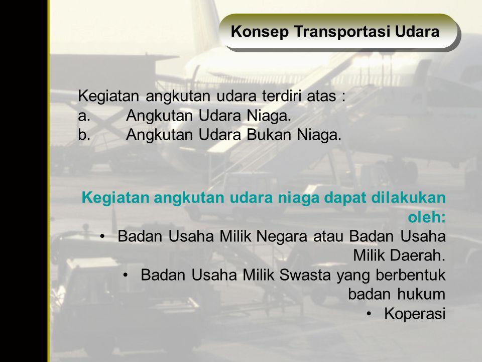 Kegiatan angkutan udara terdiri atas : a.Angkutan Udara Niaga. b.Angkutan Udara Bukan Niaga. Kegiatan angkutan udara niaga dapat dilakukan oleh: Badan