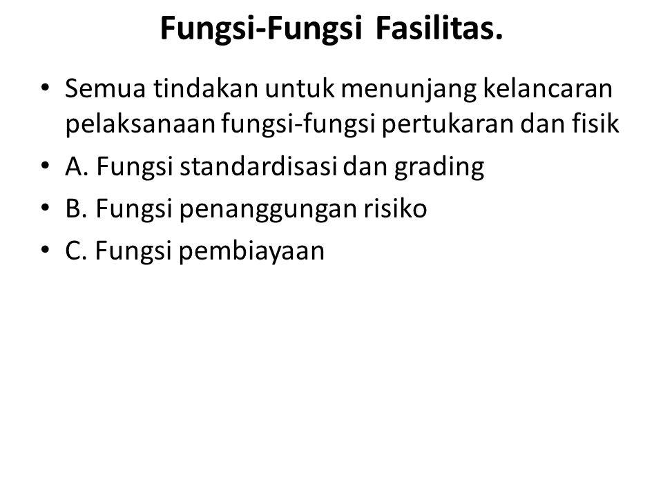 Fungsi-Fungsi Fasilitas. Semua tindakan untuk menunjang kelancaran pelaksanaan fungsi-fungsi pertukaran dan fisik A. Fungsi standardisasi dan grading
