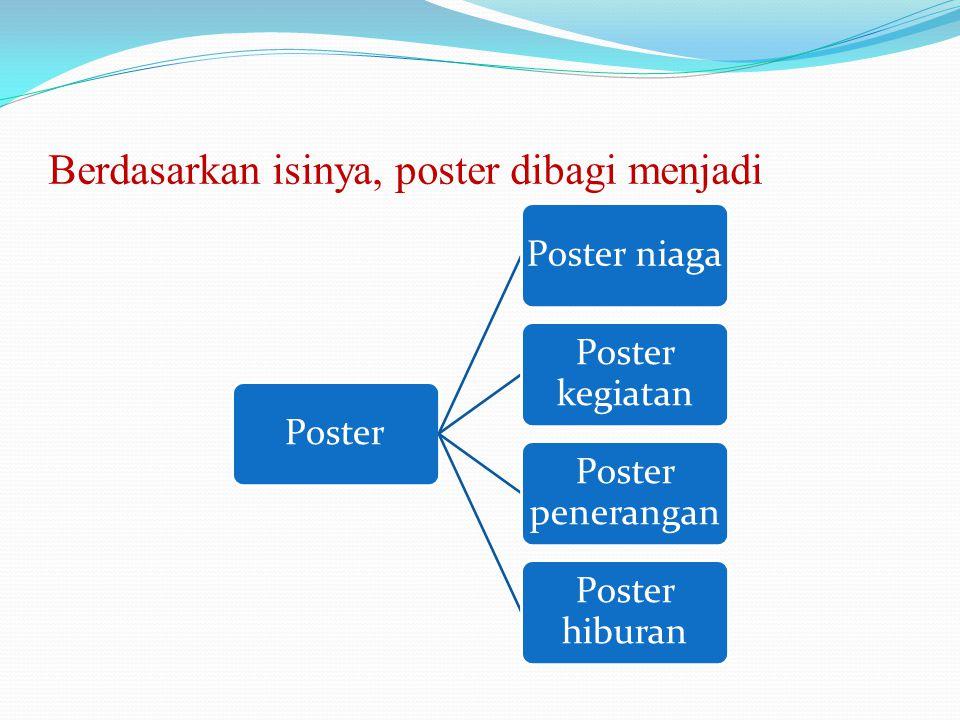 Berdasarkan isinya, poster dibagi menjadi PosterPoster niaga Poster kegiatan Poster penerangan Poster hiburan