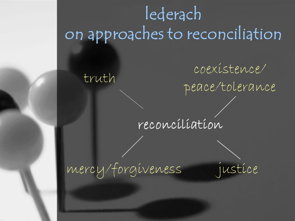 lederach on approaches to reconciliation coexistence/ peace/tolerance reconciliation truth mercy/forgivenessjustice