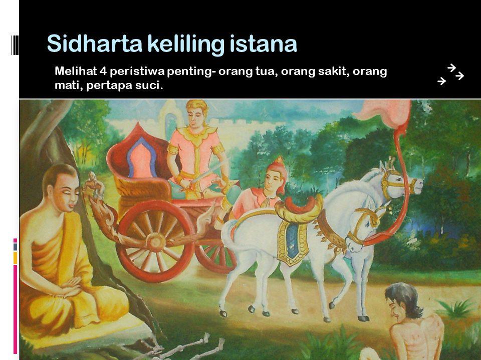Sidharta keliling istana Melihat 4 peristiwa penting- orang tua, orang sakit, orang mati, pertapa suci.