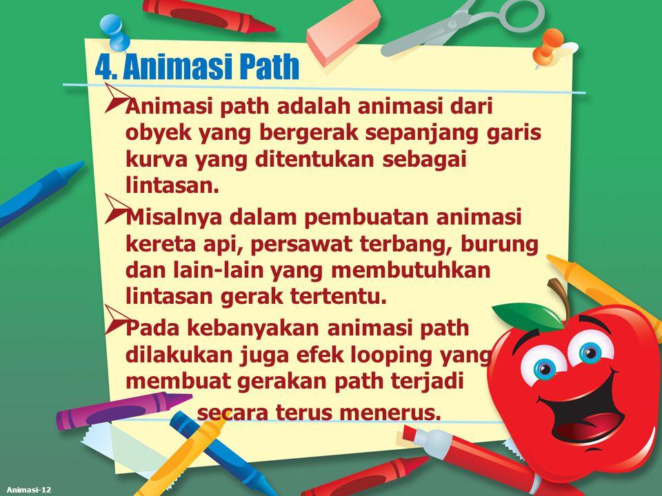 Animasi-12 4. Animasi Path  Animasi path adalah animasi dari obyek yang bergerak sepanjang garis kurva yang ditentukan sebagai lintasan.  Misalnya d