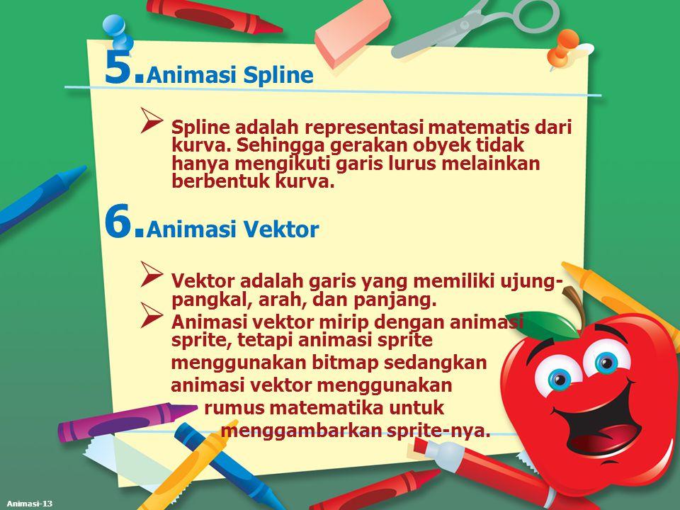 Animasi-13 5. Animasi Spline  Spline adalah representasi matematis dari kurva. Sehingga gerakan obyek tidak hanya mengikuti garis lurus melainkan ber