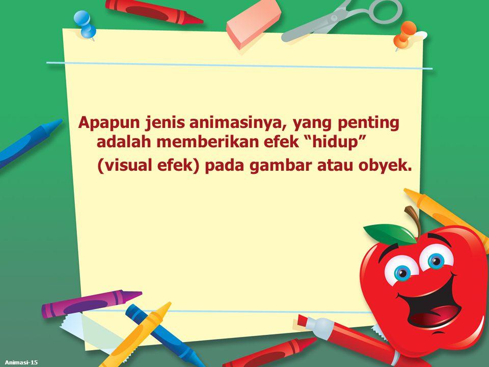 """Animasi-15 Apapun jenis animasinya, yang penting adalah memberikan efek """"hidup"""" (visual efek) pada gambar atau obyek."""