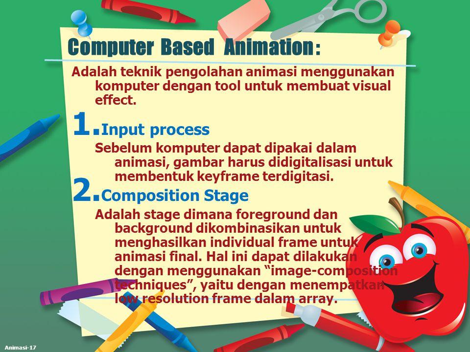 Animasi-17 Computer Based Animation : Adalah teknik pengolahan animasi menggunakan komputer dengan tool untuk membuat visual effect. 1. Input process