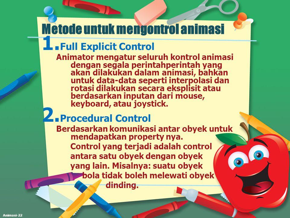 Animasi-22 Metode untuk mengontrol animasi 1. Full Explicit Control Animator mengatur seluruh kontrol animasi dengan segala perintahperintah yang akan