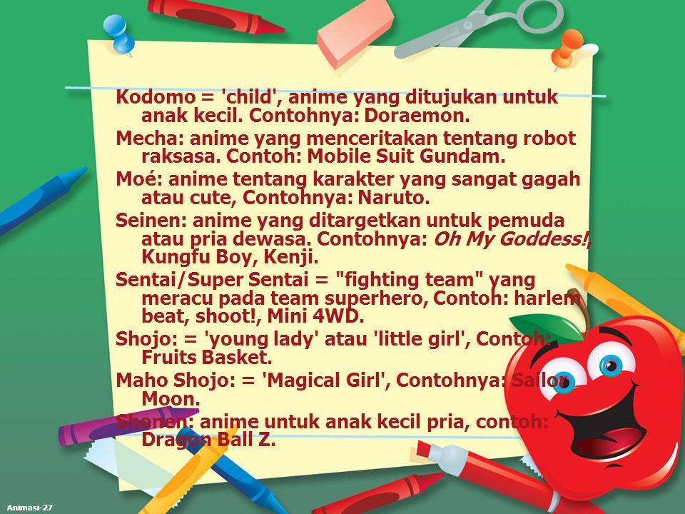 Animasi-27 Kodomo = 'child', anime yang ditujukan untuk anak kecil. Contohnya: Doraemon. Mecha: anime yang menceritakan tentang robot raksasa. Contoh: