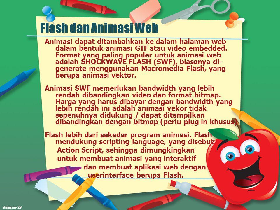 Animasi-28 Flash dan Animasi Web Animasi dapat ditambahkan ke dalam halaman web dalam bentuk animasi GIF atau video embedded. Format yang paling popul