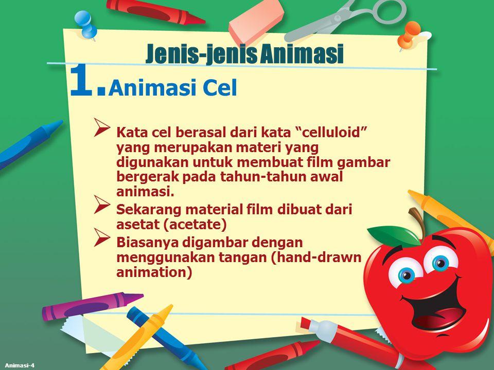 Animasi-5 Animasi Cel  Animasi cel biasanya merupakan lembaran- lembaran yang membentuk animasi tunggal.