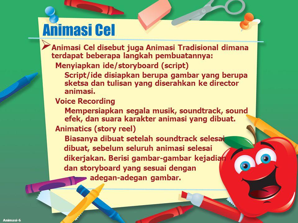 Animasi-6 Animasi Cel  Animasi Cel disebut juga Animasi Tradisional dimana terdapat beberapa langkah pembuatannya: Menyiapkan ide/storyboard (script)