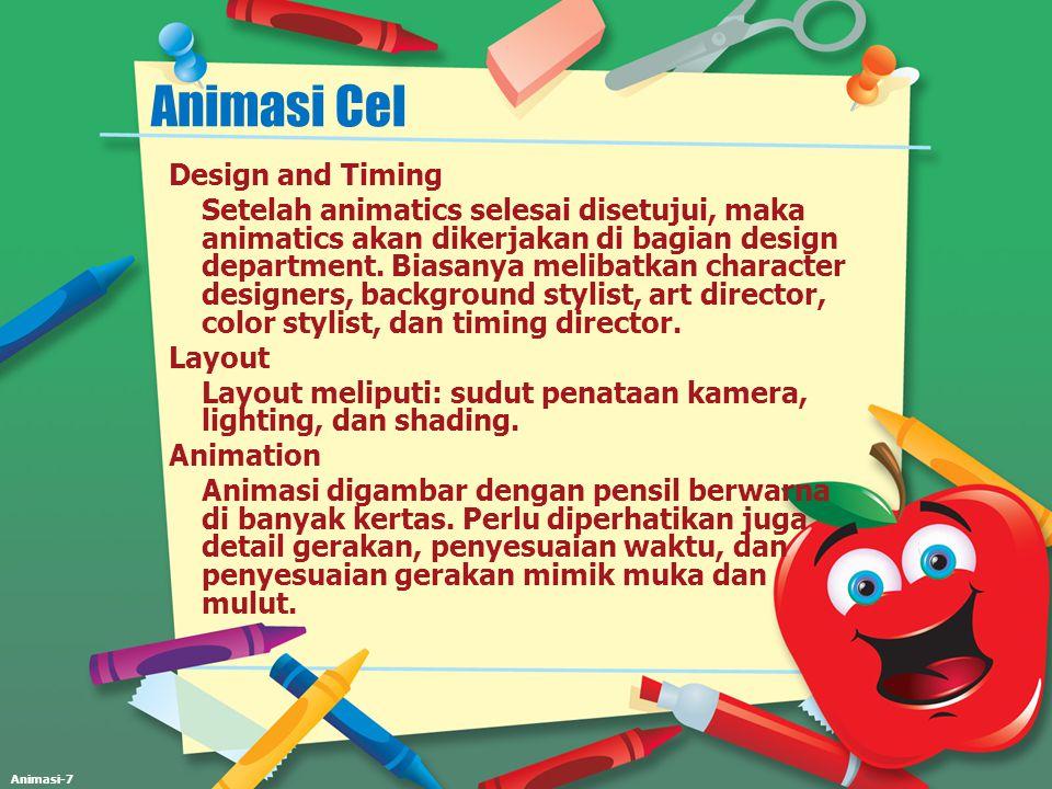 Animasi-7 Animasi Cel Design and Timing Setelah animatics selesai disetujui, maka animatics akan dikerjakan di bagian design department. Biasanya meli