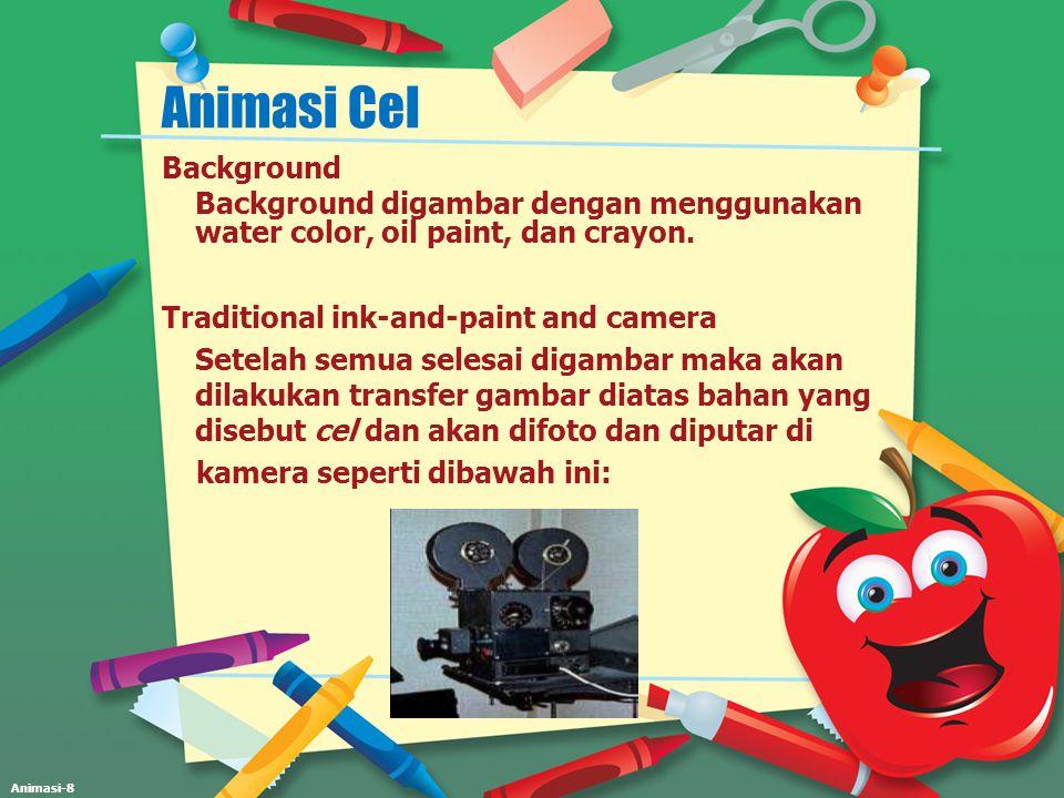 Animasi-8 Animasi Cel Background Background digambar dengan menggunakan water color, oil paint, dan crayon. Traditional ink-and-paint and camera Setel