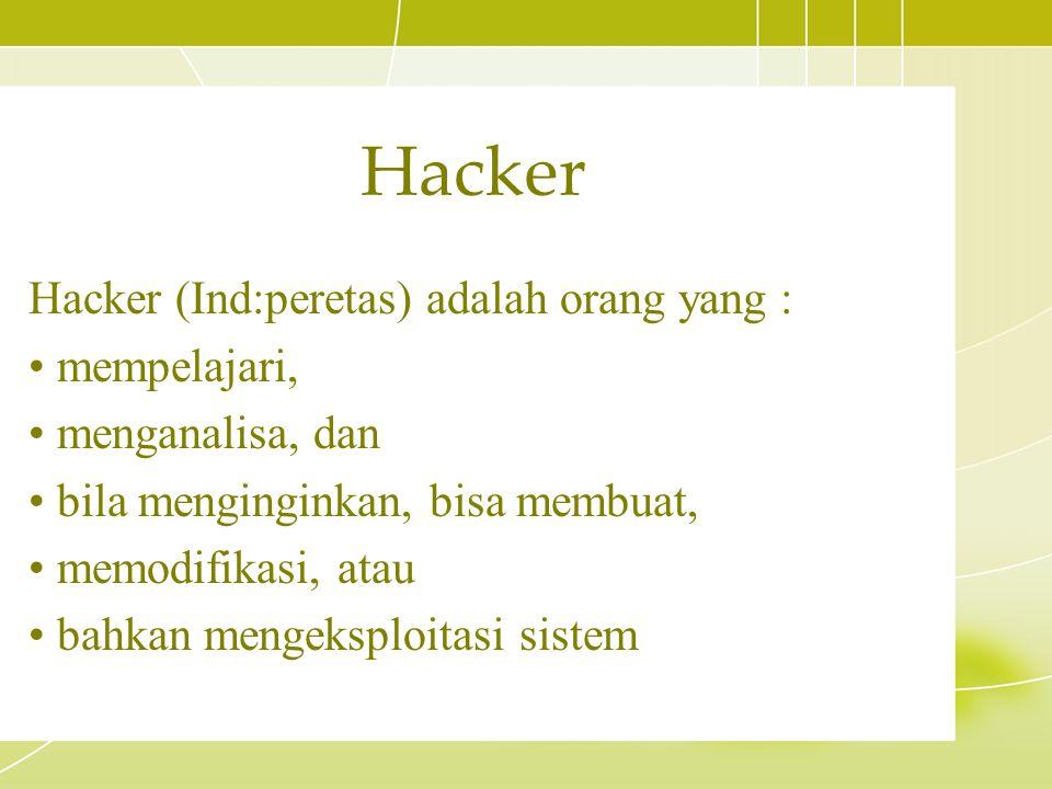 Hacker (Ind:peretas) adalah orang yang : mempelajari, menganalisa, dan bila menginginkan, bisa membuat, memodifikasi, atau bahkan mengeksploitasi sist