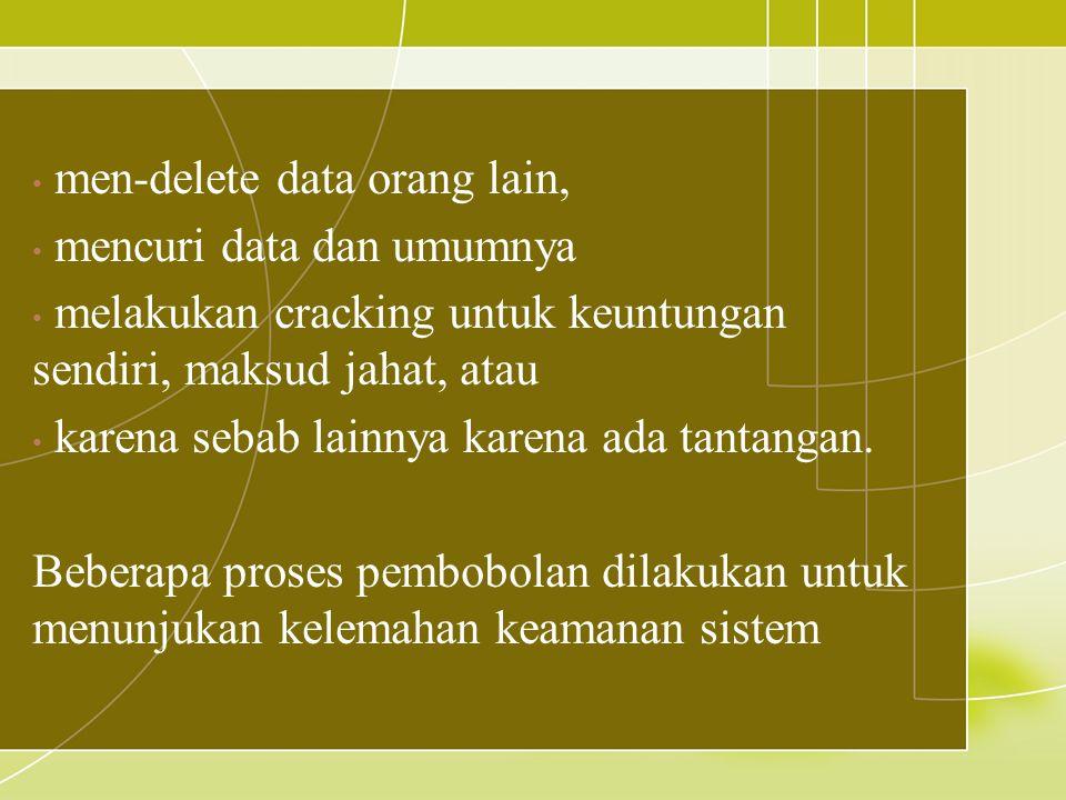 men-delete data orang lain, mencuri data dan umumnya melakukan cracking untuk keuntungan sendiri, maksud jahat, atau karena sebab lainnya karena ada t