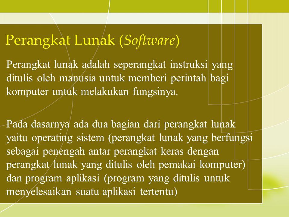 Perangkat lunak adalah seperangkat instruksi yang ditulis oleh manusia untuk memberi perintah bagi komputer untuk melakukan fungsinya. Pada dasarnya a