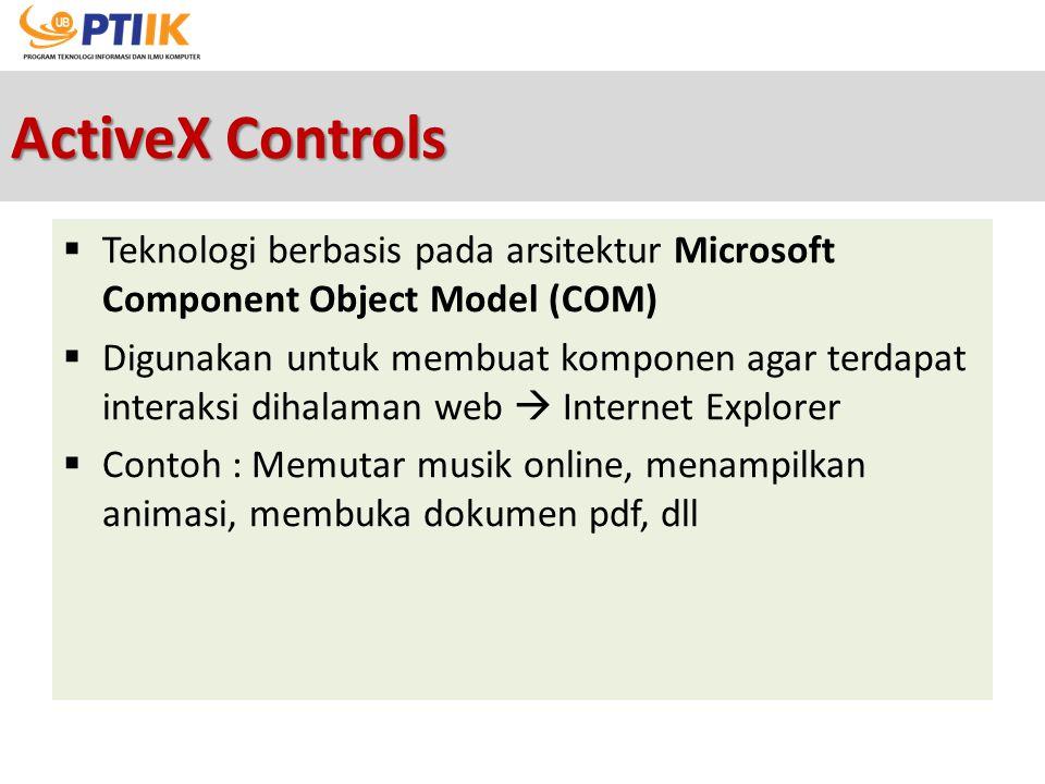 ActiveX Controls  Teknologi berbasis pada arsitektur Microsoft Component Object Model (COM)  Digunakan untuk membuat komponen agar terdapat interaks
