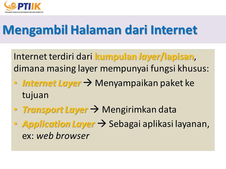Mengambil Halaman dari Internet kumpulan layer/lapisan Internet terdiri dari kumpulan layer/lapisan, dimana masing layer mempunyai fungsi khusus: Inte