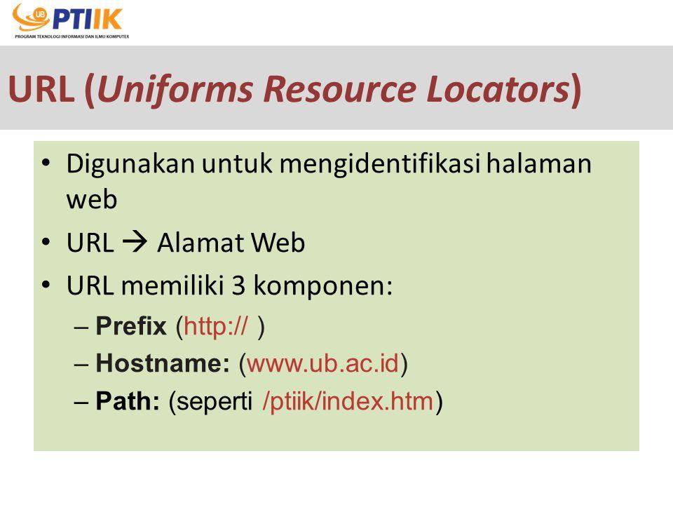 URL (Uniforms Resource Locators) Digunakan untuk mengidentifikasi halaman web URL  Alamat Web URL memiliki 3 komponen: –Prefix (http:// ) –Hostname: