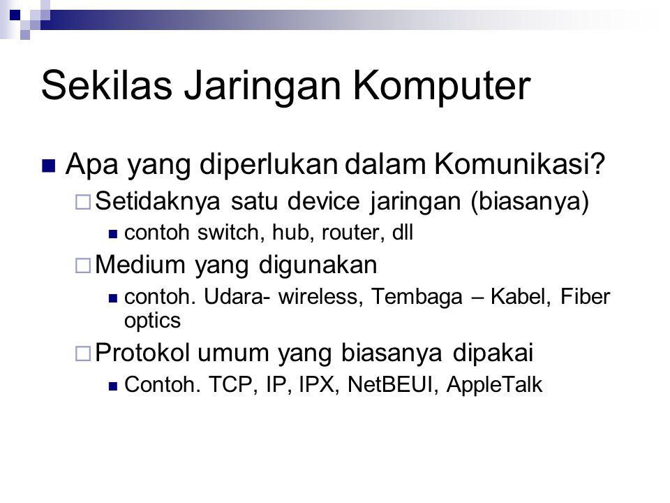 Sekilas Jaringan Komputer Apa yang diperlukan dalam Komunikasi?  Setidaknya satu device jaringan (biasanya) contoh switch, hub, router, dll  Medium