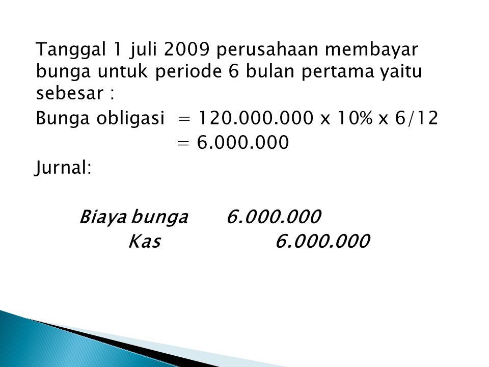 Tanggal 1 juli 2009 perusahaan membayar bunga untuk periode 6 bulan pertama yaitu sebesar : Bunga obligasi = 120.000.000 x 10% x 6/12 = 6.000.000 Jurn