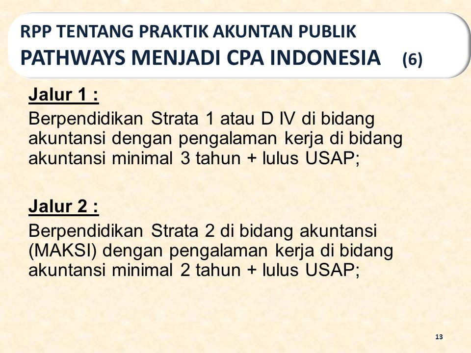 Jalur 1 : Berpendidikan Strata 1 atau D IV di bidang akuntansi dengan pengalaman kerja di bidang akuntansi minimal 3 tahun + lulus USAP; Jalur 2 : Ber
