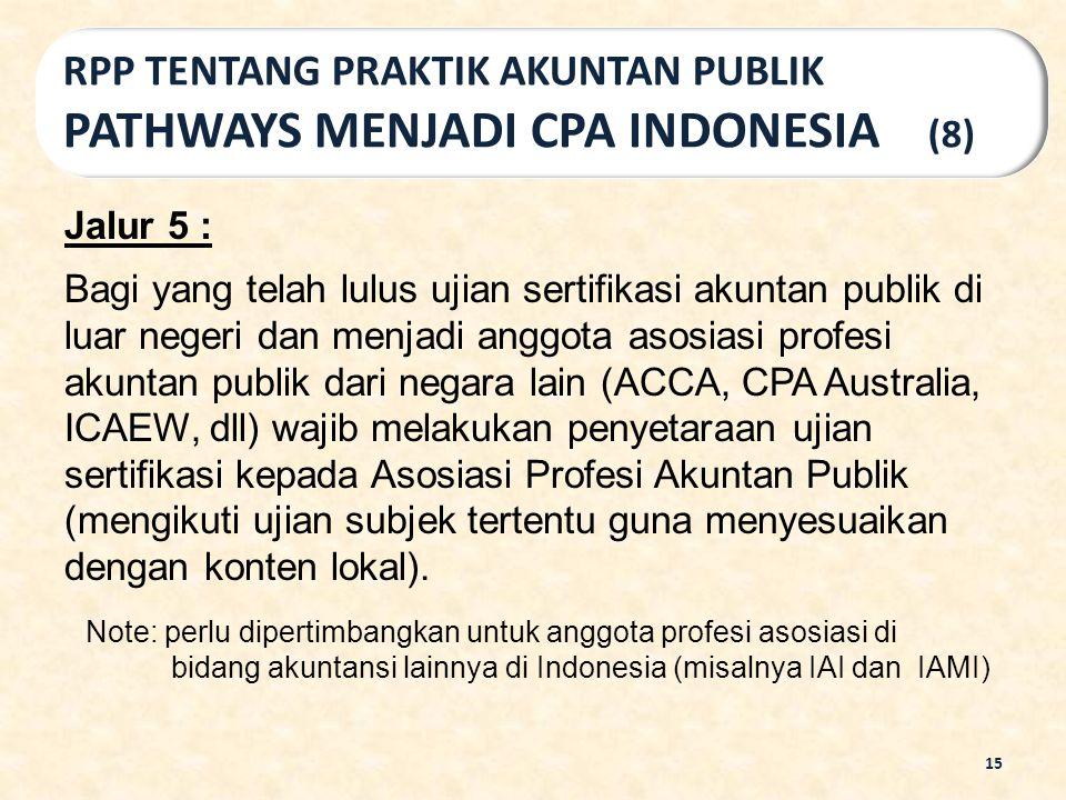 Jalur 5 : Bagi yang telah lulus ujian sertifikasi akuntan publik di luar negeri dan menjadi anggota asosiasi profesi akuntan publik dari negara lain (