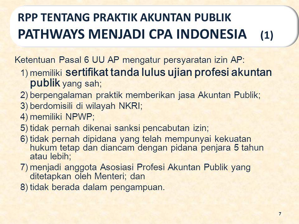 Ketentuan Pasal 6 UU AP mengatur persyaratan izin AP: 1)memiliki sertifikat tanda lulus ujian profesi akuntan publik yang sah; 2)berpengalaman praktik