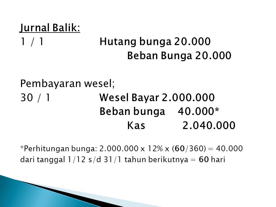 Jurnal Balik: 1 / 1 Hutang bunga 20.000 Beban Bunga 20.000 Pembayaran wesel; 30 / 1 Wesel Bayar 2.000.000 Beban bunga 40.000* Kas 2.040.000 *Perhitungan bunga: 2.000.000 x 12% x (60/360) = 40.000 dari tanggal 1/12 s/d 31/1 tahun berikutnya = 60 hari