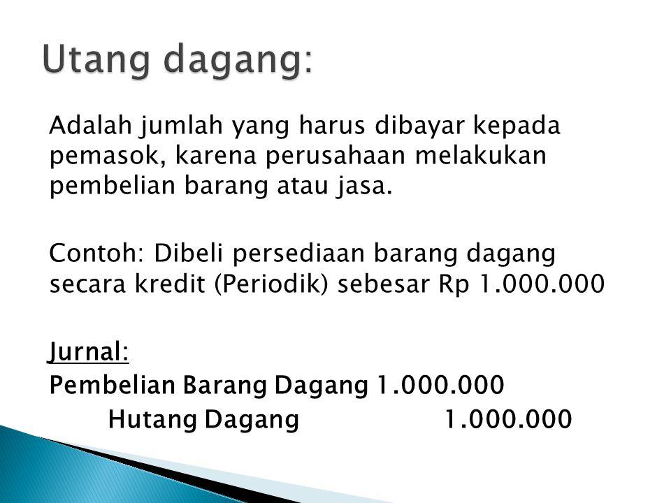 Adalah jumlah yang harus dibayar kepada pemasok, karena perusahaan melakukan pembelian barang atau jasa.