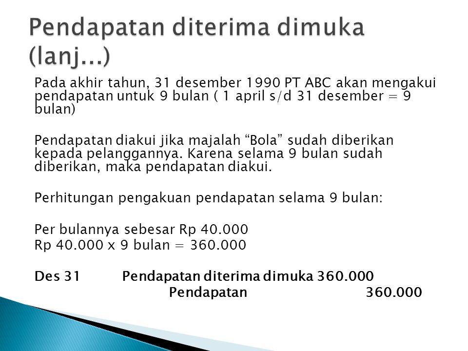 Pada akhir tahun, 31 desember 1990 PT ABC akan mengakui pendapatan untuk 9 bulan ( 1 april s/d 31 desember = 9 bulan) Pendapatan diakui jika majalah Bola sudah diberikan kepada pelanggannya.