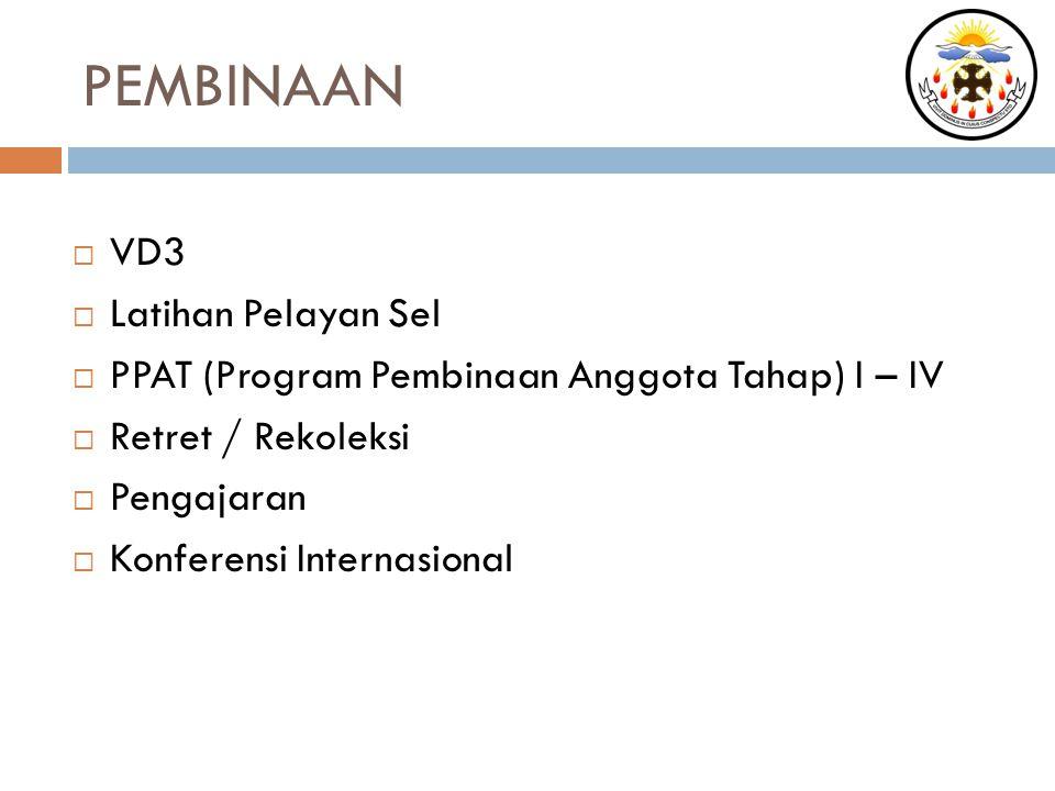 PEMBINAAN  VD3  Latihan Pelayan Sel  PPAT (Program Pembinaan Anggota Tahap) I – IV  Retret / Rekoleksi  Pengajaran  Konferensi Internasional