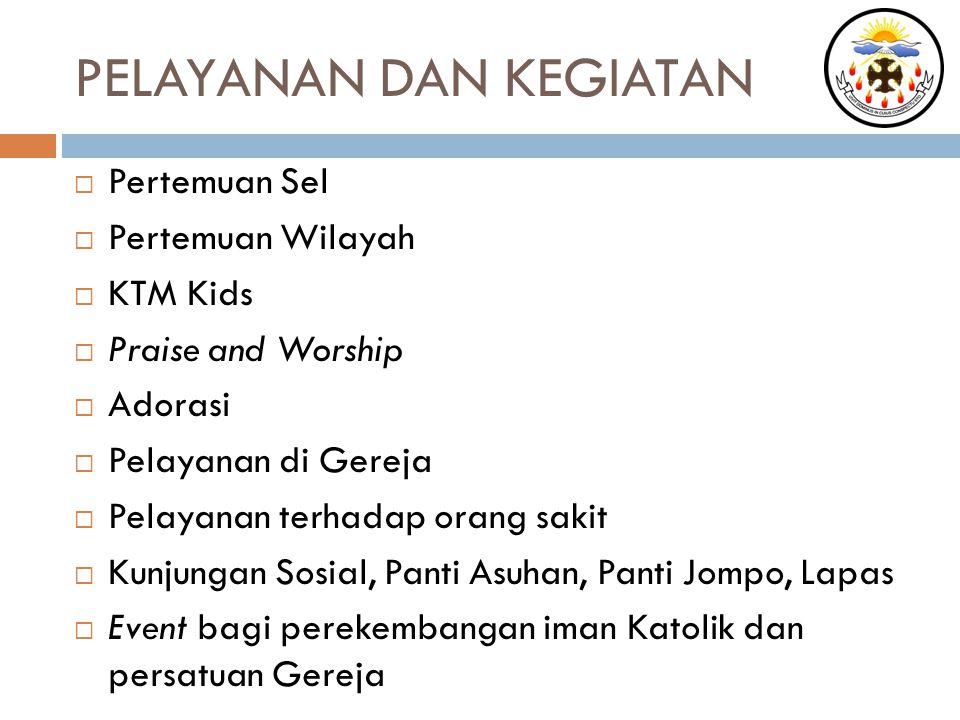 PELAYANAN DAN KEGIATAN  Pertemuan Sel  Pertemuan Wilayah  KTM Kids  Praise and Worship  Adorasi  Pelayanan di Gereja  Pelayanan terhadap orang