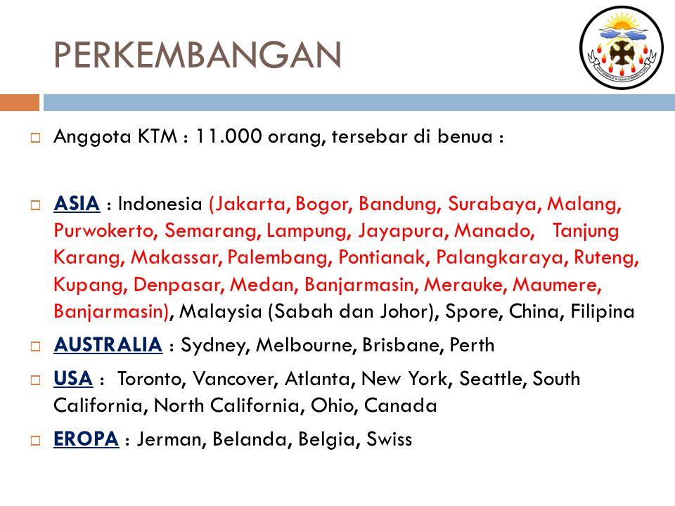 PERKEMBANGAN  Anggota KTM : 11.000 orang, tersebar di benua :  ASIA : Indonesia (Jakarta, Bogor, Bandung, Surabaya, Malang, Purwokerto, Semarang, La