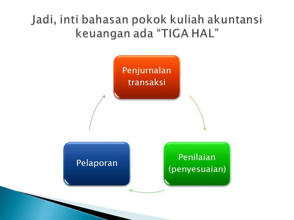 Penjurnalan transaksi Penilaian (penyesuaian) Pelaporan