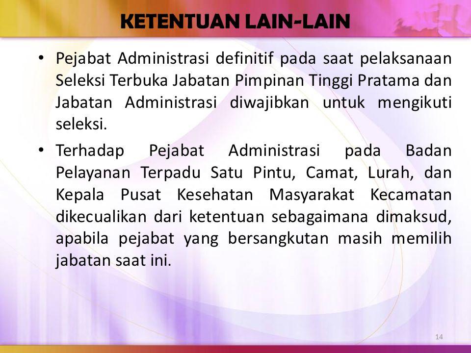 KETENTUAN LAIN-LAIN Pejabat Administrasi definitif pada saat pelaksanaan Seleksi Terbuka Jabatan Pimpinan Tinggi Pratama dan Jabatan Administrasi diwa