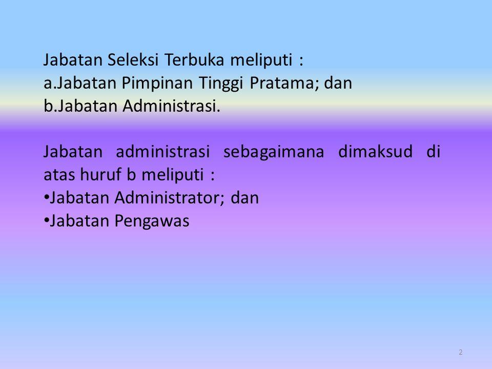 Setiap PNS dapat mengikuti Seleksi Terbuka Jabatan Pimpinan Tinggi Pratama dengan memenuhi persyaratan sebagai berikut : 4 Persyaratan Jabatan Pimpinan Tinggi Pratama (eselon II) a.PNS; b.paling rendah memiliki pangkat/golongan Pembina Utama Muda (IV/c) untuk eselon II.A dan paling rendah memiliki pangkat/golongan Pembina Tingkat I (IV/b) untuk eselon II.B; c.sedang dan/atau pernah menduduki Jabatan Pimpinan Tinggi Pratama atau yang disetarakan dengan Jabatan Struktural Eselon II; d.bagi yang sedang menduduki Jabatan Administrasi atau yang disetarakan dengan Jabatan Eselon III paling kurang 2 (dua) tahun dalam jabatan; e.tidak sedang menjalani hukuman disiplin tingkat sedang dan berat, dan/atau f.tidak dalam status tersangka kasus tindak pidana korupsi, narkoba, pidana umum oleh aparat penegak hukum.