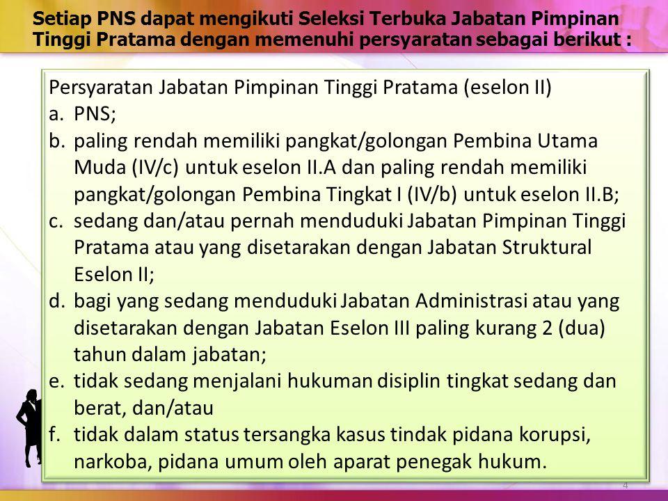 Setiap PNS dapat mengikuti Seleksi Terbuka Jabatan Pimpinan Tinggi Pratama dengan memenuhi persyaratan sebagai berikut : 4 Persyaratan Jabatan Pimpina
