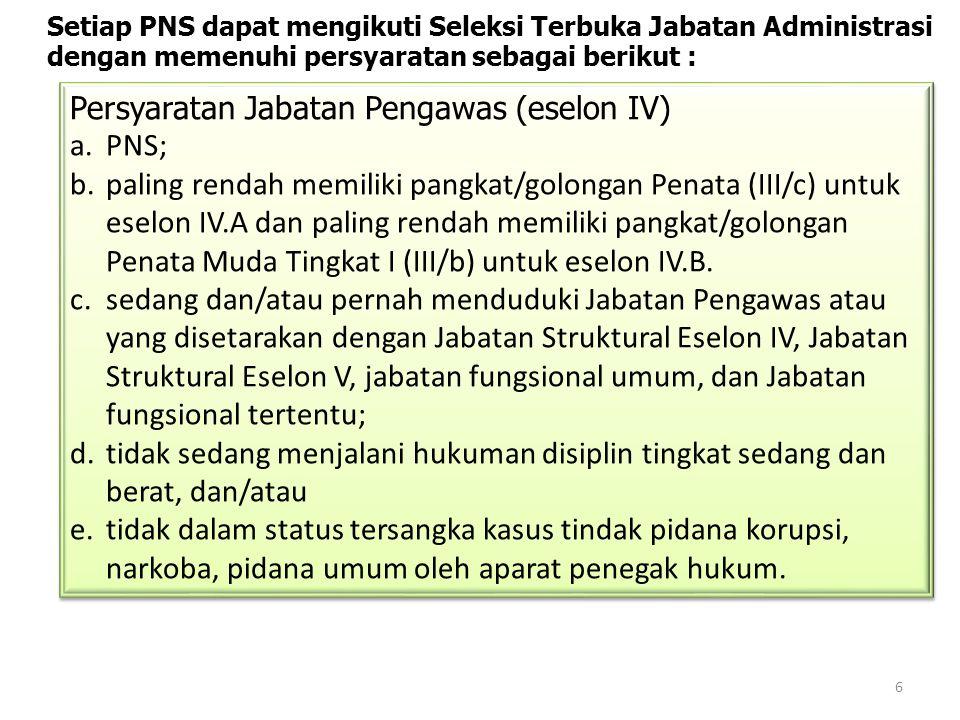 6 Setiap PNS dapat mengikuti Seleksi Terbuka Jabatan Administrasi dengan memenuhi persyaratan sebagai berikut : Persyaratan Jabatan Pengawas (eselon I