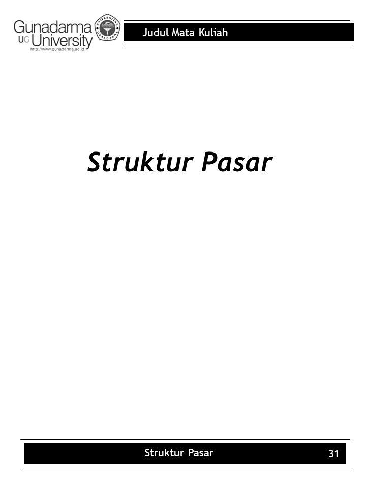 Judul Mata Kuliah Struktur Pasar 31 Struktur Pasar