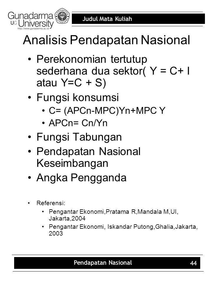 Judul Mata Kuliah Pendapatan Nasional 44 Analisis Pendapatan Nasional Perekonomian tertutup sederhana dua sektor( Y = C+ I atau Y=C + S) Fungsi konsumsi C= (APCn-MPC)Yn+MPC Y APCn= Cn/Yn Fungsi Tabungan Pendapatan Nasional Keseimbangan Angka Pengganda Referensi: Pengantar Ekonomi,Pratama R,Mandala M,UI, Jakarta,2004 Pengantar Ekonomi, Iskandar Putong,Ghalia,Jakarta, 2003