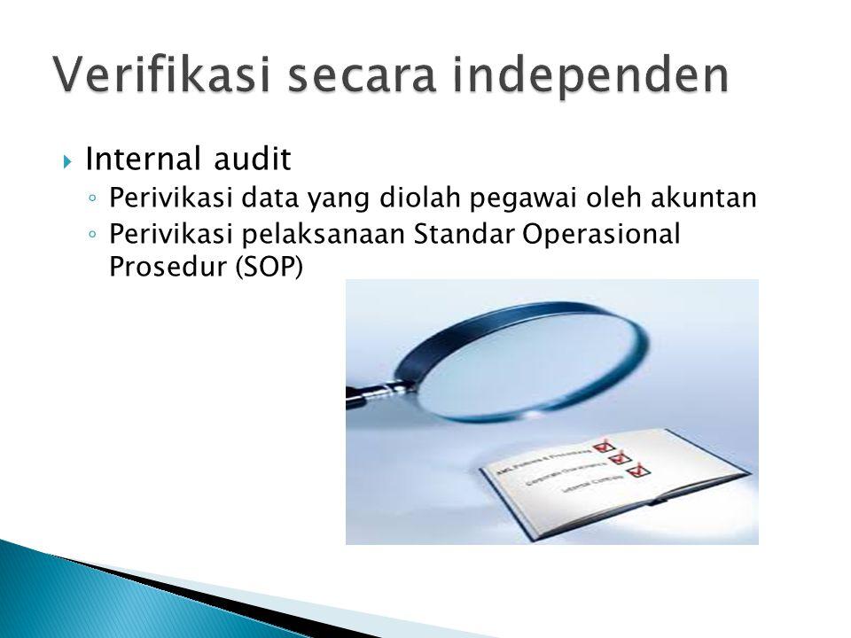  Internal audit ◦ Perivikasi data yang diolah pegawai oleh akuntan ◦ Perivikasi pelaksanaan Standar Operasional Prosedur (SOP)