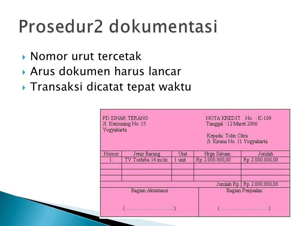  Nomor urut tercetak  Arus dokumen harus lancar  Transaksi dicatat tepat waktu