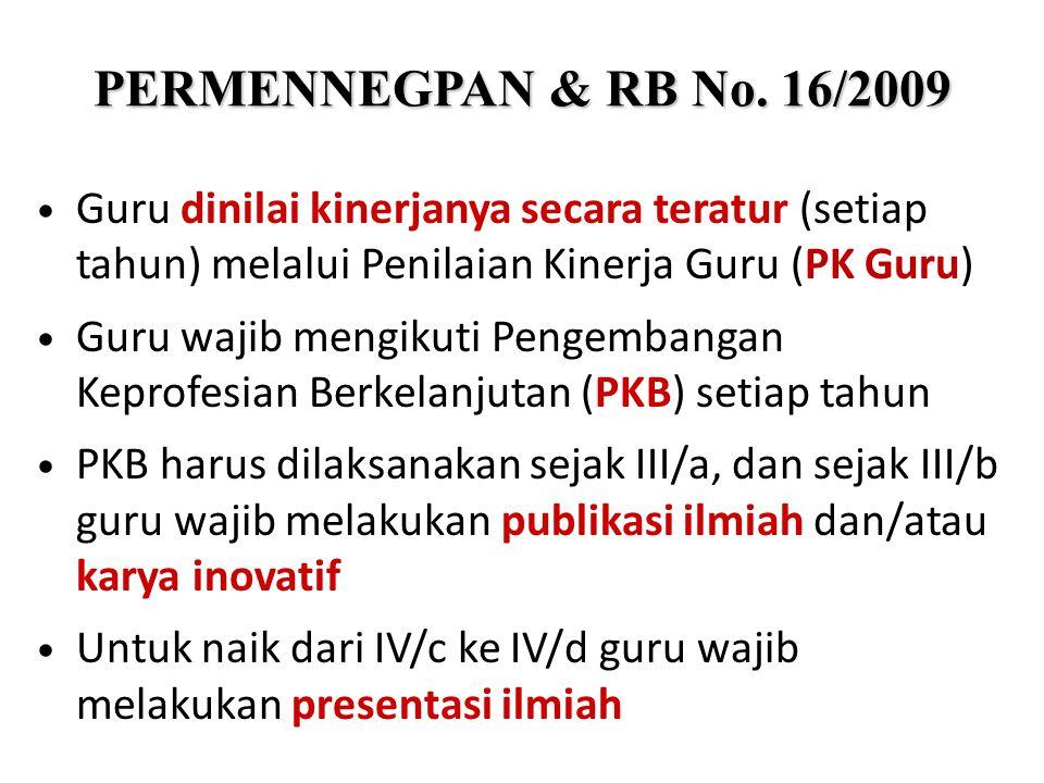 PERMENNEGPAN & RB No. 16/2009 Guru dinilai kinerjanya secara teratur (setiap tahun) melalui Penilaian Kinerja Guru (PK Guru) Guru wajib mengikuti Peng