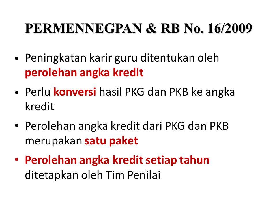 Peningkatan karir guru ditentukan oleh perolehan angka kredit Perlu konversi hasil PKG dan PKB ke angka kredit Perolehan angka kredit dari PKG dan PKB