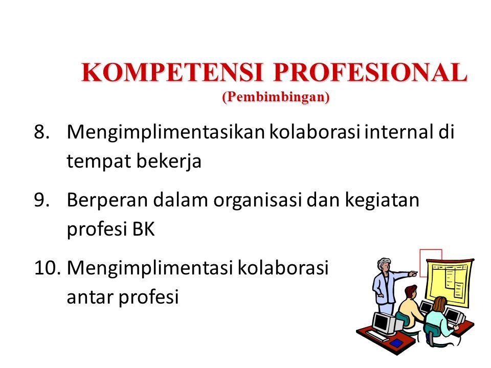 KOMPETENSI PROFESIONAL (Pembimbingan) 8.Mengimplimentasikan kolaborasi internal di tempat bekerja 9.Berperan dalam organisasi dan kegiatan profesi BK