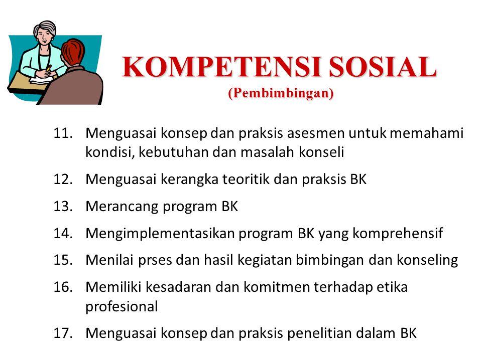 KOMPETENSI SOSIAL (Pembimbingan) 11.Menguasai konsep dan praksis asesmen untuk memahami kondisi, kebutuhan dan masalah konseli 12.Menguasai kerangka t